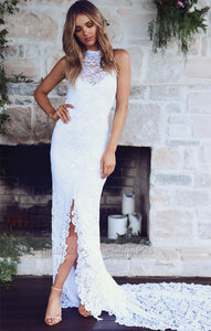 Open Back Summer Beach Bridal Gowns Lace High Neck Sheath Front-Slit Wedding Dresses,BD99631