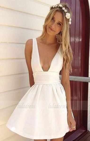 Summer A-Line Deep V-Neck White Satin Short Homecoming/Graduation Dress,BD98429