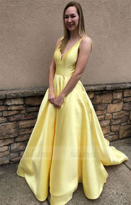 yellow long prom dress, ball gown, simply princess v neck yellow long prom dress graduation dress,BD98041