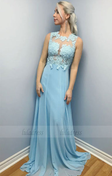 chiffon long prom dress, party dress elegant blue chiffon long prom dress evening dress,BD98737