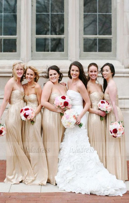 Sweetheart Bridesmaid Dresses With Pleats, Long Bridesmaid Dresses,BD98130