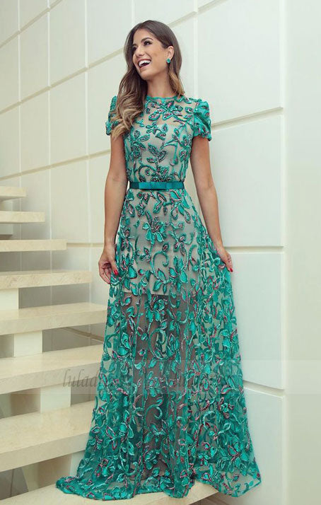 luxury mint prom dresses modest long party dresses unique a line sheer tulle evening gowns,BD98777
