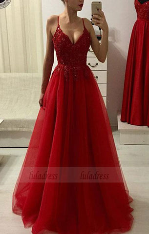 Red v neck lace tulle long prom dress, red evening dress,BD98203
