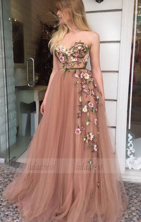 cute sweatheart a line tulle long prom dresses with flower , blush ball gown graduation party dress for teens,BD98633