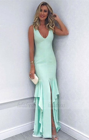 sexy leg slit long mermaid prom dresses evening gowns for wedding party,BD98144