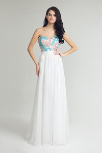 White Sweetheart Long Chiffon Prom Evening Dress, BS21