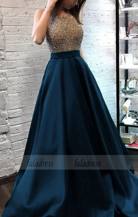 Sparkly Beaded Halter Long Satin Evening Gowns Open Back Prom Dresses,BD99431