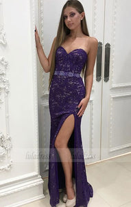 Mermaid Sweetheart Floor-Length Purple Lace Prom Dress with Split,BD99559