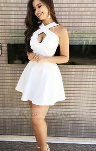 A-Line Cross Neck Open Back Short White Homecoming Dress with Keyhole,BD99495