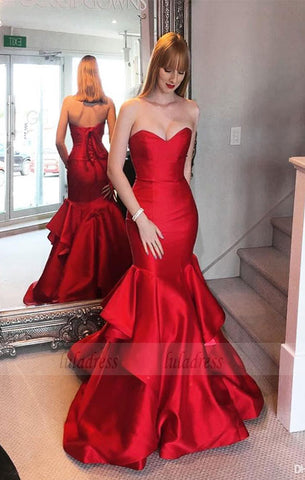 Sweep-train Mermaid Sweetheart Red Lace-up Tired Evening Dress,BD99912