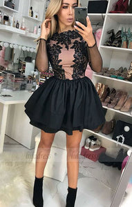 A-Line Crew Long Sleeves Short Black Tiered Homecoming Dress with Appliques,BD99496