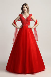 Red V-neck Beaded Long Formal A-line Prom Dress, LX426