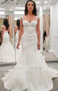 Lace Appliques Sweetheart Cap Sleeves Floor Length Mermaid Wedding Dress Featuring Low Back and Train,BD99611