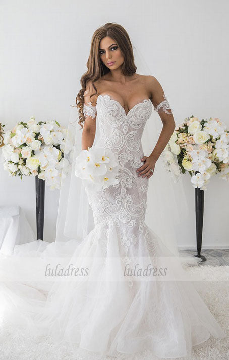 Lace Appliques Sweetheart  Mermaid Wedding Dress,BD99612