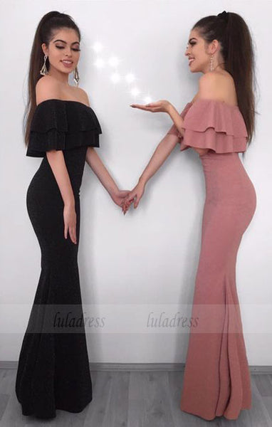 mermaid prom dresses, elegant off the shoulder tiered evening gown,BD99650