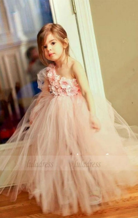New fashion Cute Pink one shoulder ball gown flower girl dress puffy tulle tiered party dresses for girls,BD99738