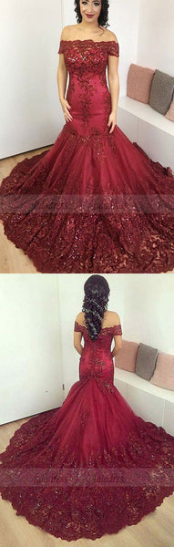 Burgundy Lace off-the-shoulder Evening Dresses Mermaid Prom Gowns,BD98148