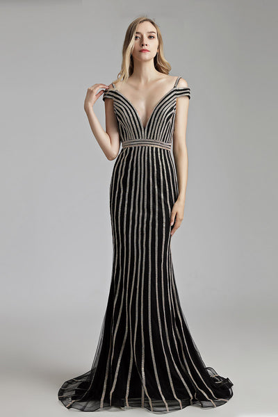 Black With Sliver Beading Mermaid Formal Long Evening Dress, LX497