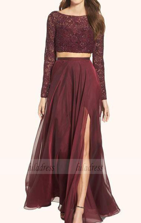 2 Pieces Party Dresses,Burgundy Evening Gowns,Formal Dress For Teens,BD99250