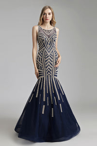 navy tulle with golden beaded mermaid Long Prom Dress, LX493