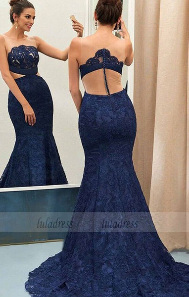 Mermaid Round Neck Sweep Train Navy Blue Lace Prom Dress,BD99564