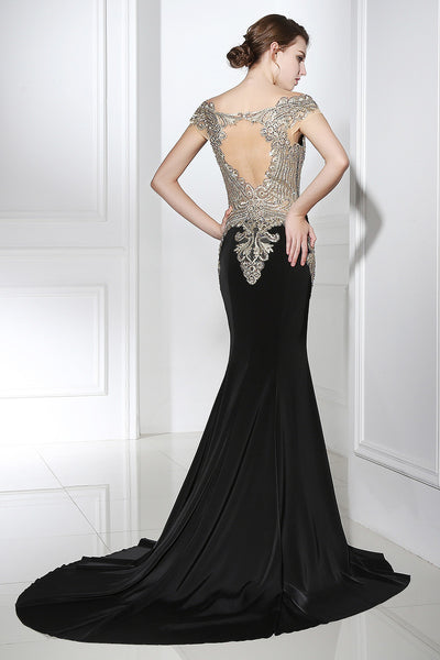 Short Sleeves Beaded Top Formal Mermaid Long Prom Dress, LX401