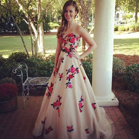 Gorgeous Strapless A-line Long Floral Prom Dress,BD99785