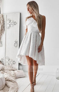 A-Line One-Shoulder High Low White Lace Prom Homecoming Dress with Ruffles,BD99565