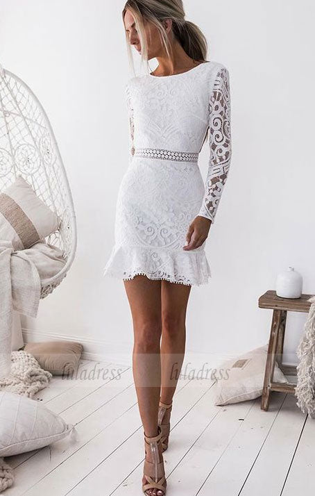 Long Sleeves Short White Lace Homecoming Cocktail Dress,BD99500