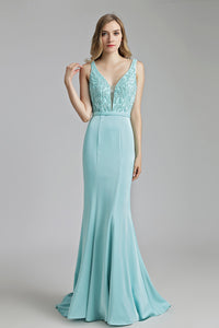 V-neck Mermaid Formal Long Evening Dress, LX504
