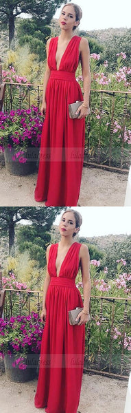 Prom Dresses For Teens,Deep V Neck High Leg Slit Chiffon Long Prom Dress,BD99915