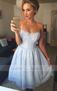 A-Line Strapless Above-Knee Lace Homecoming Dress,BD99518