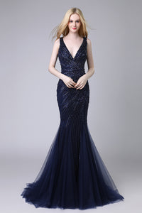 Navy V-neck Luxury Beaded Long Evening Dress Formal Mermaid Prom Dress, LX424