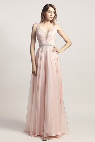 Spaghetti straps A-line Long Chiffon Prom Dress Charming Ball Gown, LX466