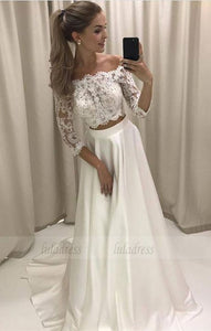 Boho Style Lace Sleeves Two Piece Wedding Dresses Off Shoulder Satin Beach Bridal Gowns,BD99827