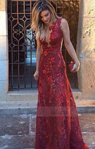 Mermaid Deep V-Neck Sweep Train Dark Red Lace Sleeveless Prom Dress,BD99077