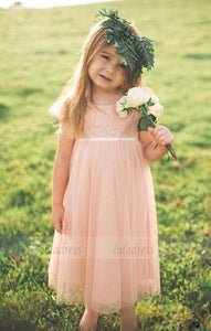 Pink Lace Chiffon Toddler Flower Girls Dresses For Weddings,BD99760