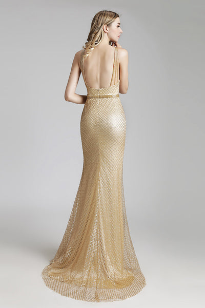 Golden Formal Long Prom Dress Charming White Evening Dress, LX449