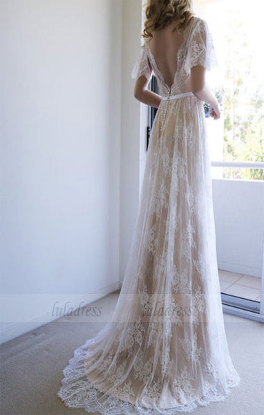 Lace Wedding Dresses,Long Wedding Dress with Open Back,BD99062