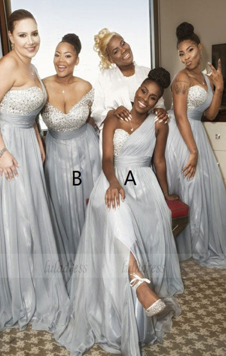 A-Line One Shoulder Grey Chiffon Bridesmaid Dress with Sequins Split,BD99845