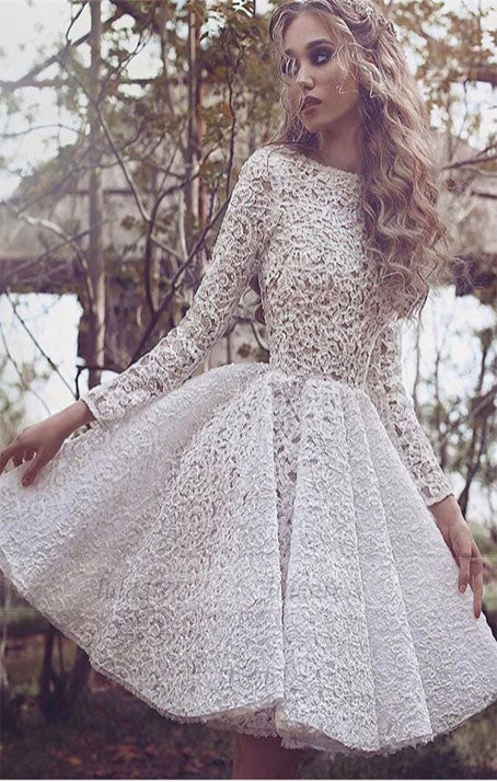 Unique Long Sleeves Full Lace Evening Gowns Short Homecoming Dress