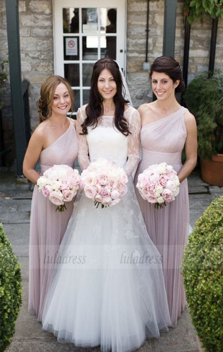 One Shoulder Bridesmaid Dresses, Pearl Pink Bridesmaid Dresses, Long Bridesmaid Dresses,BD98611