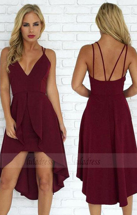 Sexy Straps Burgundy Short Prom Dress Homecoming Dress,BD99017