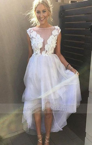 simple white high low prom dresses, fashion a line party dresses with appliques, elegant tulle formal dresses ,BD98716