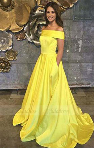 Yellow Prom Dresses,Off The Shoulder Prom Dresses,A Line Prom Dress,Long Evening Gown With Pockets,Satin Prom Dresses,BD98045