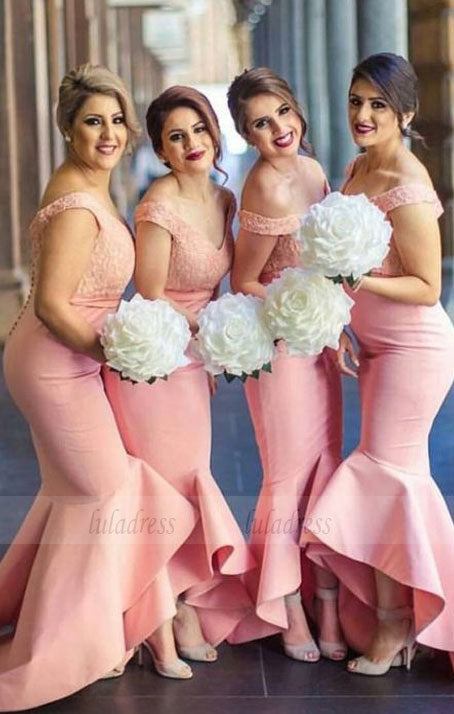Pink bridesmaid dresses for fall wedding, Long bridesmaid dresses with lace, Elegant long prom party dresses,BD98274