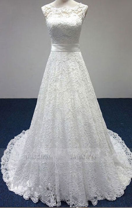 elegant lace wedding dress, classic bride dresses with Bow, white lace sleeveless wedding party dresses, BD98322