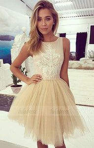 Tulle Homecoming Dress With Lace,Short Prom Dress