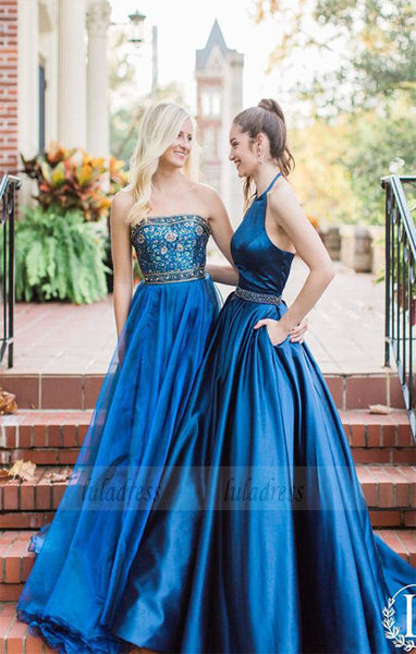 halter navy blue long prom dress,party dress,prom dress with pockets,BD98735