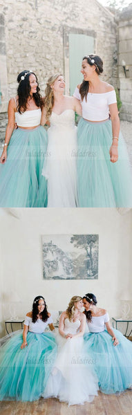Two Piece Bridesmaid Dresses, Turquoise Tulle Bridesmaid Dresses, Elegant Bridesmaid Dresses,BD98129